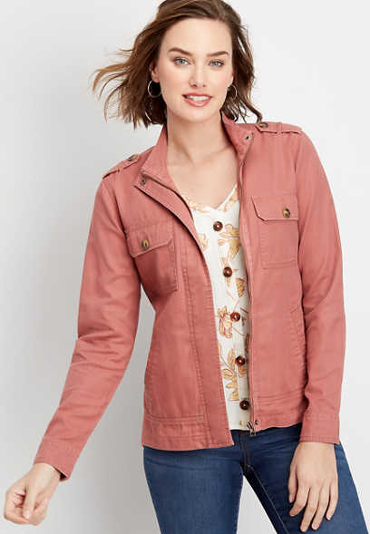 ruffle back utility jacket