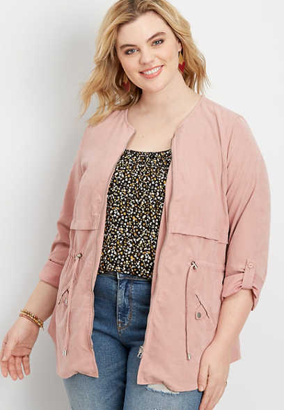 plus size soft zip front anorak jacket