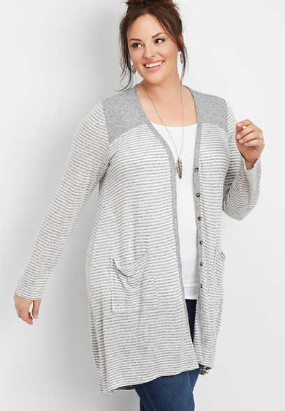 plus size stripe duster cardigan