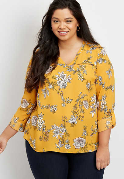 Plus Size Floral Zipper Blouse