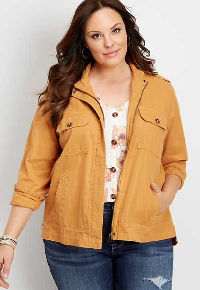 plus size ruffle back utility jacket