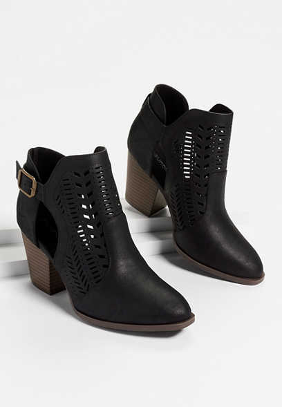 Nina laser cut ankle bootie