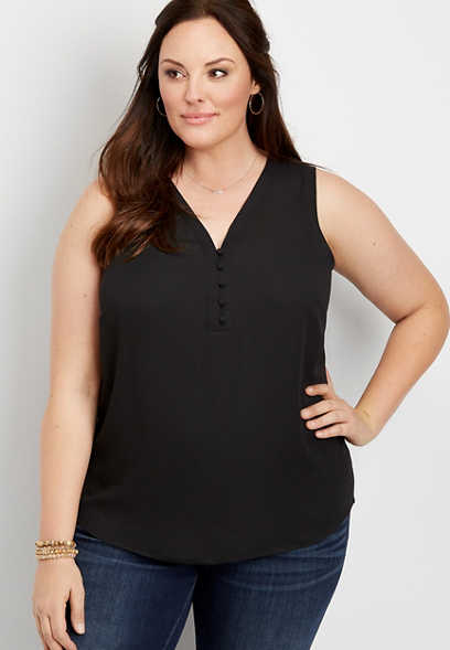 Plus Size Solid Button Front Tank