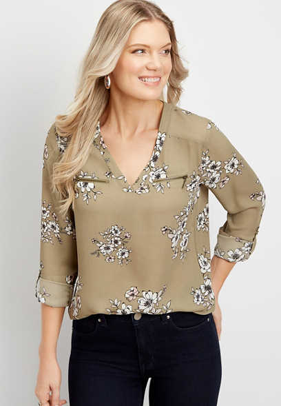 floral zipper blouse