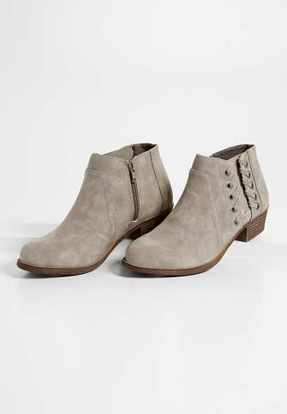 Nia whipstitch side gore ankle bootie