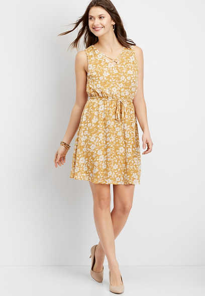 floral lattice neck dress