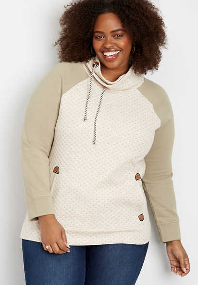plus size quilted colorblock cowl neck pullover