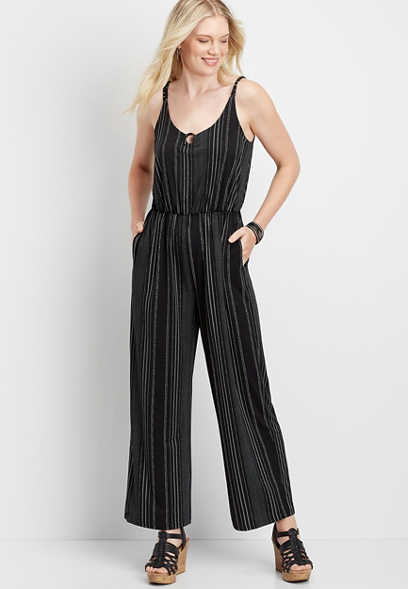 Stripe Tortoise Ring Pocket Jumpsuit