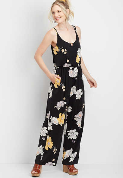 Floral Tortoise Ring Pocket Jumpsuit