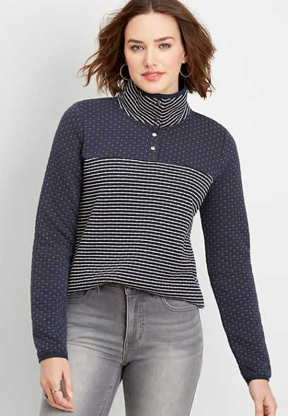 stripe blocked quilted snap neck pullover