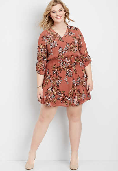 plus size floral zipper dress