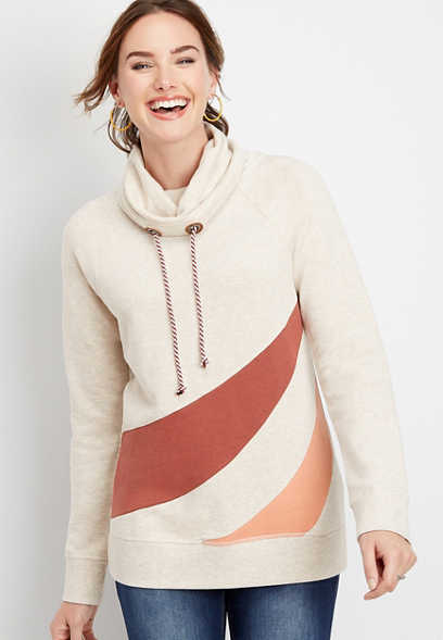 spliced colorblock cowl neck pullover