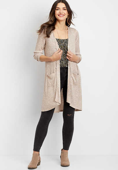 ribbed button down duster cardigan