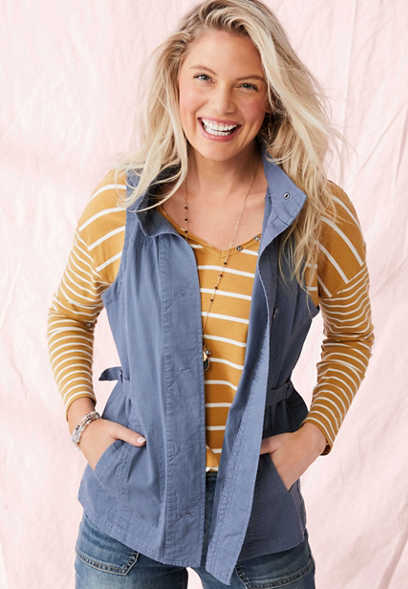 quilted yoke vest