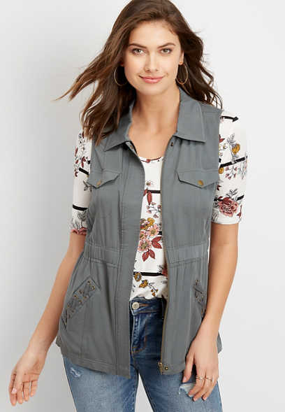 lace up pocket vest