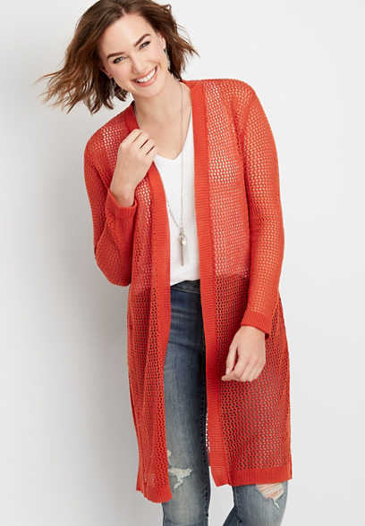 mesh stitch duster cardigan