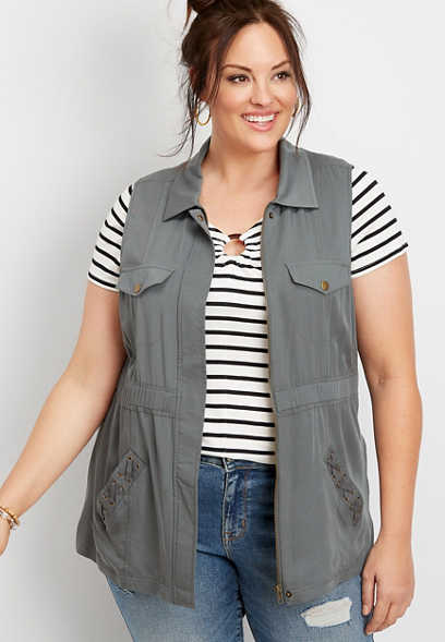 plus size lace up pocket vest