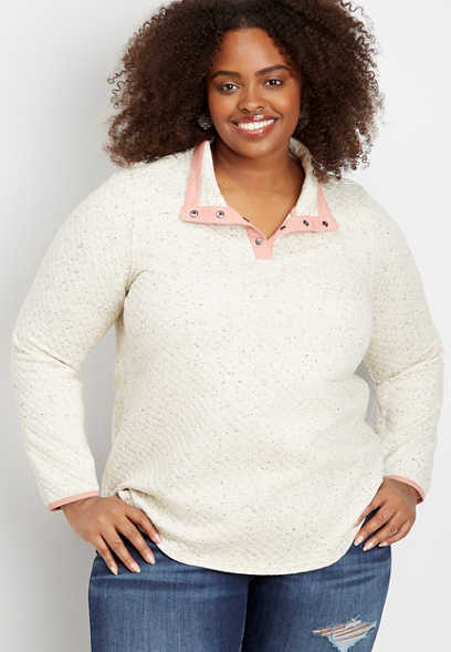 plus size quilted snap neck pullover