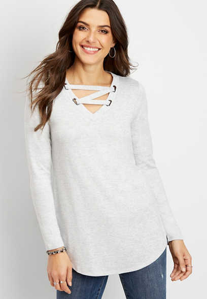 24/7 strappy neck tunic tee