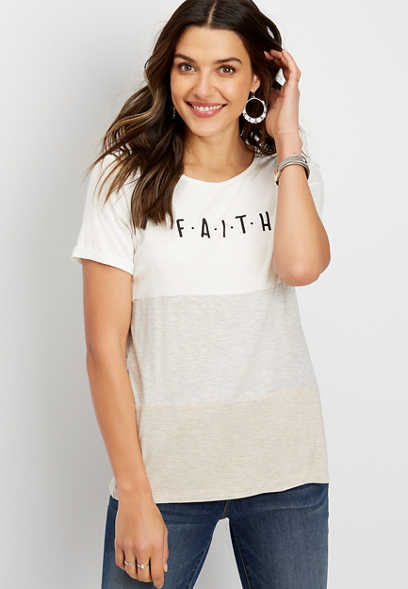 faith colorblock graphic tee