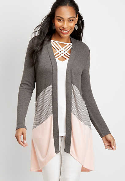 stripe colorblock open front duster cardigan