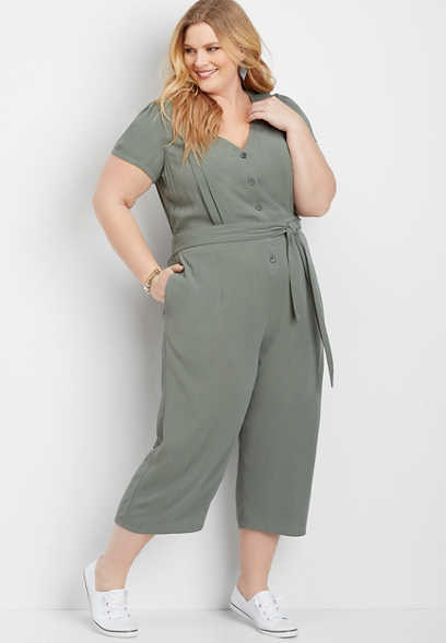 plus size utility pocket jumpsuit