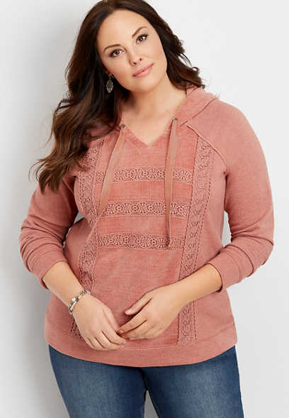 plus size chenille mix hoodie