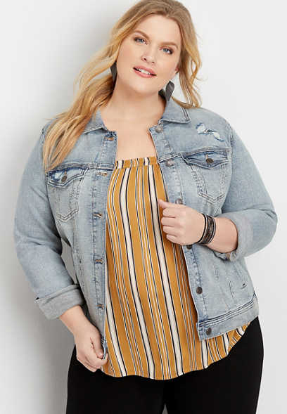 Plus Size Vintage Destructed Denim Jacket