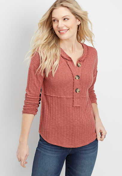 oversized button ribbed henley top