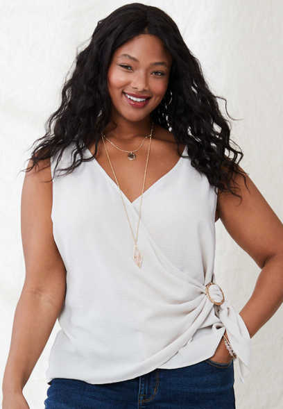 plus size wrap front ring tank