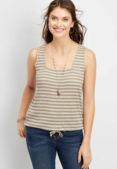 24/7 stripe square neck drawstring tank