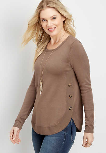 button detailed tunic sweater