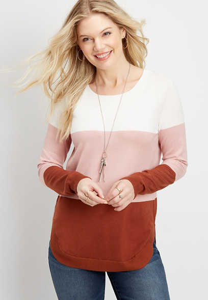 stripe colorblock pullover