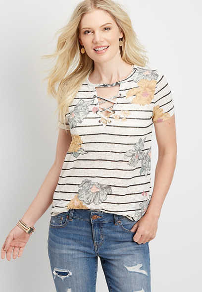 24/7 stripe floral strappy neck tee