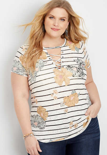 plus size 24/7 stripe floral strappy neck tee