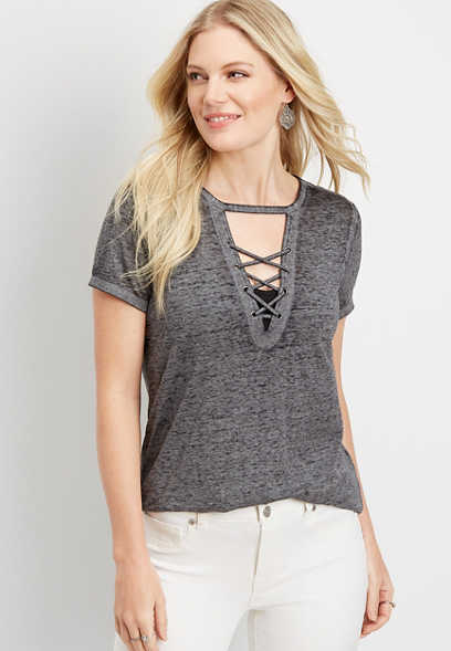 24/7 solid strappy neck tee