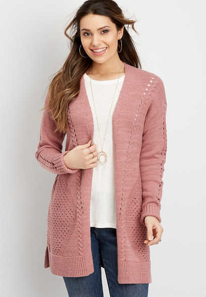 lace up back open front cardigan