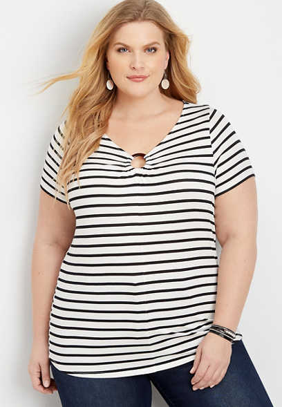 plus size 24/7 stripe tortoise ring tee