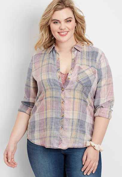 plus size plaid button down shirt