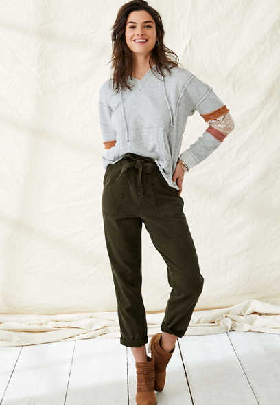high rise tie waist utility pant