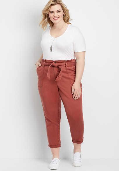 plus size high rise tie waist utility pant
