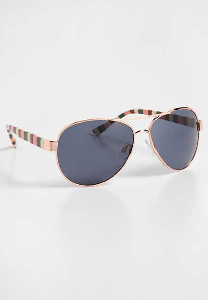 striped aviator sunglasses