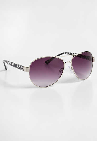 heart side aviator sunglasses