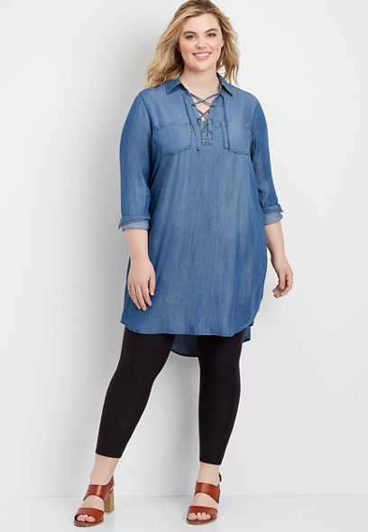 plus size chambray shirtdress