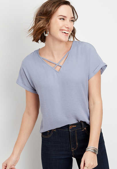 Solid Lattice Neck Blouse