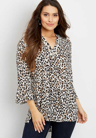leopard crochet trim tunic blouse