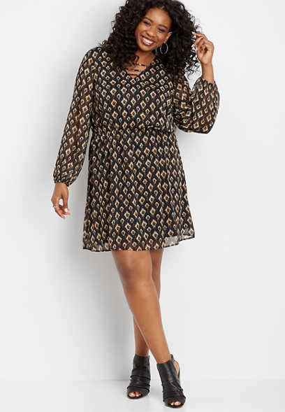 plus size ikat print strappy neck dress