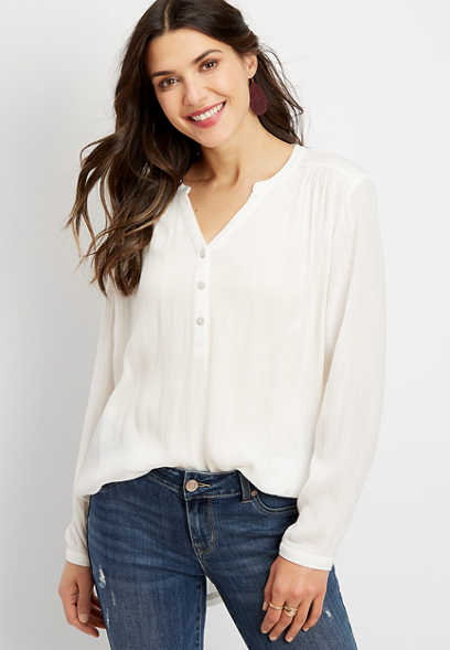 oversized solid popover blouse