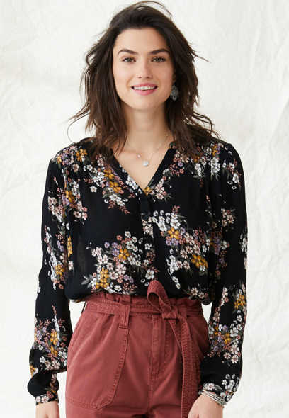 oversized floral popover blouse