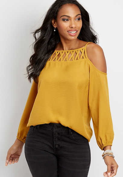 solid lattice neck cold shoulder top